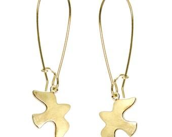 SEAGULL EARRINGS Gold Vermeil 18k, Long Dangle Bird Earrings, Animal Nautical jewelry