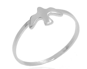 Silver Stacking Bird Ring, Knuckle Seagull Ring Sterling Silver 925, Minimalist Nautical Jewelry