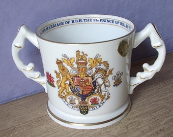 Vintage Aynsley china loving cup, Prince of Wales marriage to Lady Diana Spencer wedding cup, 1981, Princess Diana cup, Mother's day gift