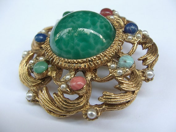 vintage green glass brooch pin, gold enamel, faux pearls, red blue pink, costume jewelry, Pittsburgh