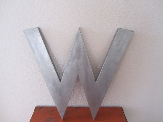 Industrial Letter W Large Metal