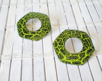 Neon Green Hoop Earrings, Upcycled Vintage, Black Crackle, OOAK, Zombie Chic, Psychobilly