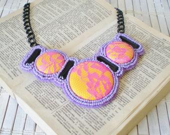 Beadwork Bib necklace Orchid Purple hot Pink Lemon yelow Lace Rhinestones chains