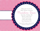 Party Printables Baby Shower Invitation Boy or Girl, Bridal Shower, Chevron Pink and navy blue Aqua Blue Green Grey