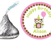 Personalized birthday hershey kiss stickers - Pink and Brown Girl Owl Birthday candy labels for party favors