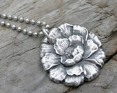 Silver Peony Flower Mommy Necklace in Fine and Sterling Silver. Family necklace. Childs kids names. Grandma grandkids grandchildren.