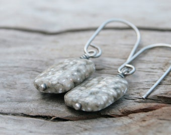 Neutral Tan and White Speckled Jasper Stone Earrings. Wire Wrapped on Handcrafted Hand-forged Modern Sterling Silver Ear Wires.