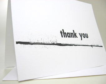 Thank You Note Card Inky Line Bold Modern Quirky Personalized