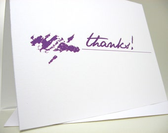 Quirky Thank You Note Card with Purple Inky Blot Blank Card