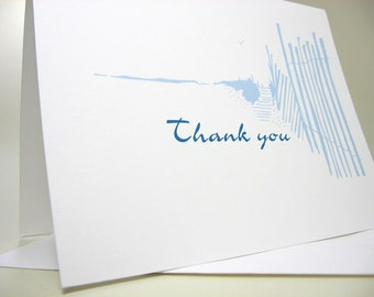 Thank You Card Custom Note Card Blue Beach Walk Personalized Beach Wedding Thanks Card