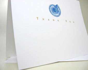 Thank You Card Custom Personalized Note Card Blue Spiral Beach Shell Wedding Thanks