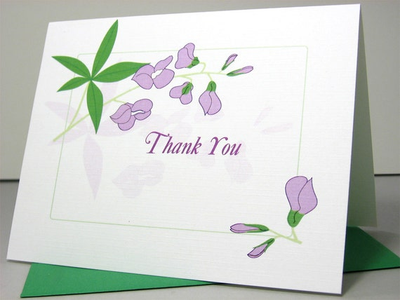 Thank You Note Card Baby Gift Announcement Lavender Flowers Thanks Birth Announcement