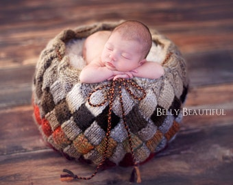 Knitting Pattern - Basket Pattern - Baby Prop Pattern - Newborn Photo Prop Pattern - Newborn Basket Prop Pattern - Newborn Knit Pattern