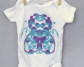 80% off CLEARANCE SALE! Unique Baby Shower Gift - Ink Blot Baby Onesie - Turquoise & Lavender non-toxic paint - 12 months - cotton onesie