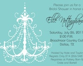 Aqua Blue Chandelier - Bridal Shower, Bachelorette Party, Girls Night Out, Birthday Party Invitation