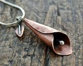 Copper calla lily pendant, lily necklace silver, copper lily pendant