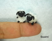Twin Fat Sheep - Micro Mini Crochet Miniature Amigurumi Sheep - Set of Two Cute Sheep - Made to Order