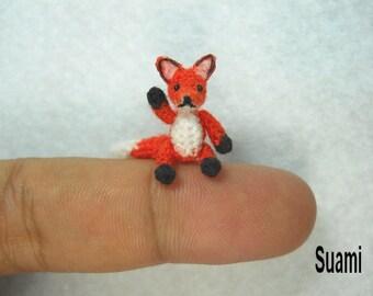 Mini Red Fox Amigurumi - Micro Dollhouse Miniature Crochet Tiny Foxes - Made To Order