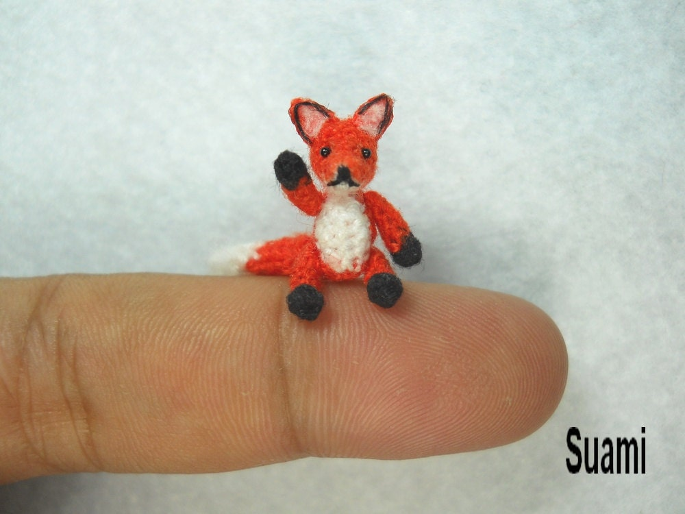 Mini Red Fox Amigurumi Micro Dollhouse Miniature Crochet