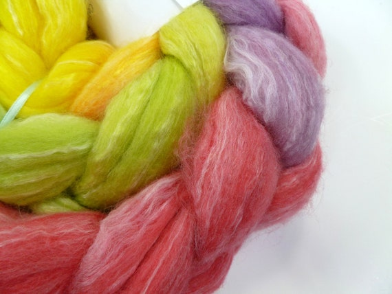 Spinning Fiber: Wonky Rainbow, 4.5 oz Merino/Silk/Bamboo blend