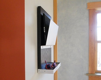 IPAD DEVICE STORAGE: Wall Mount Organization Mail Holder Fits iPad and Android Tablets with Shelf, Minimal Design Organizer