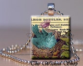Scrabble Tile Pendant - Blue Bird in Nest   -Free Silver Plated Ball Chain (B21)