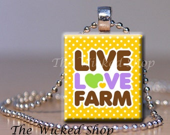 Scrabble Tile Pendant - Live Love Farm on yellow  -  Free Silver Plated Ball Chain (FARM3)