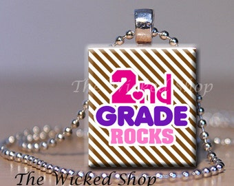 Scrabble Tile Pendant - Second Grade  Rocks  - on Brown and White Stripes -   Free Silver Plated Ball Chain (CLASS5)