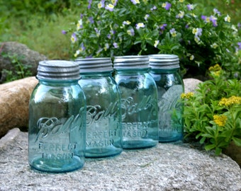 4 Aqua Ball Perfect Mason Quart Jars w/ ZINC Lids ~  c.1923-1933 ~ Vintage WEDDING DECOR ~ Kitchen & Pantry Storage ~ Insurance w/Shipping