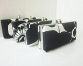 Bridesmaid clutch set, black and white wedding, black and white Bridesmaid Set of 4 Clutches, Minaudieres