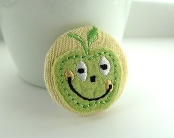 apple fabric badge -- Green apple fabric applique pin brooch on yellow cotton Teacher Gift, smile, happy, material