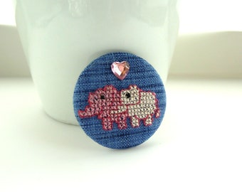 fabric elephant badge --  Denim blue handsewn cross stitched pink elephants in love pin badge with shiney pink heart gem, brooch