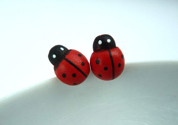 Wooden ladybird earrings on sterling silver stud, hand painted wood ladybugs, ladybeetle