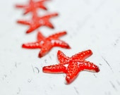 Red Crystal Starfish Cabochons Flatbacks with Foil, 20mm Sparkly Star Fish Crystal Embellishments 10 pcs