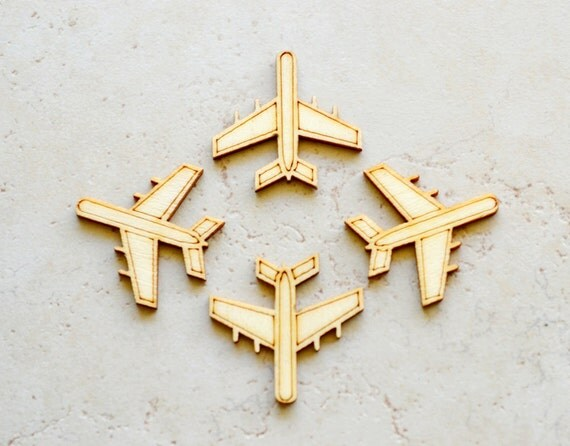 RESERVED 57 Pcs Wood Airplanes Die Cuts Scrapbooking Supplies Cabochons Jewelry Supply Gluable Wooden Flatback