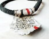 Message in a Bark - birck bark, wool statement message quote necklace