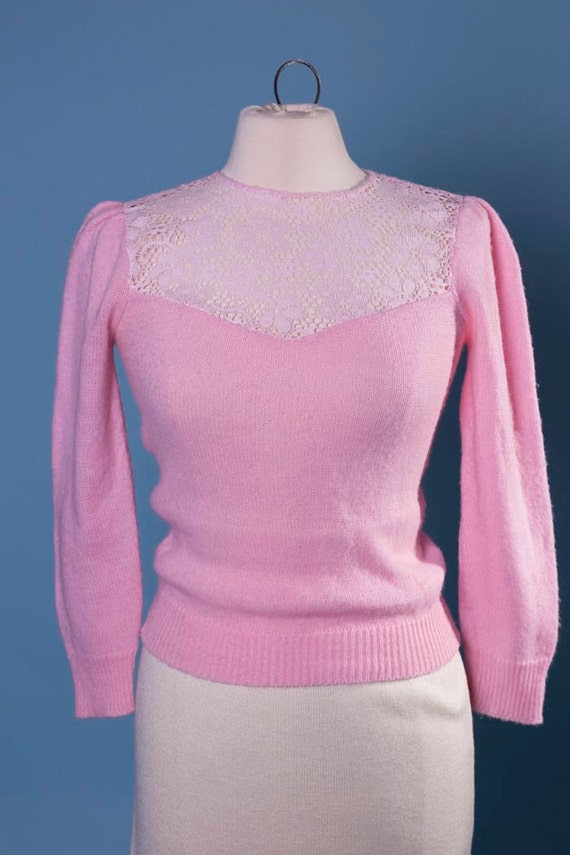 Pink adele sweater with intricate lace front