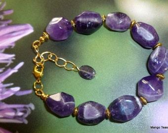 Amethyst Bracelet, Amethyst Stone Bead Bracelet, Purple Bracelet, Amethyst Bead Bracelet, Mango Tease, OOAK, FREE SHIPPING