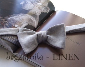 Mens bowtie, natural linen, freestyle bow tie, for men, adjustable, self tie - ships worldwide - handmade by Bagzetoile in France.