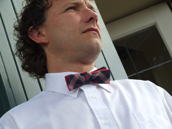 Bow Tie, for men, skinny style, self tie, red, white and blue plaid, plain red on reverse.
