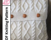 knit pattern pdf, Cable knit pillow cover pattern, Diamonds and Cable 16 x16 pillow cover - PDF KNITTING PATTERN