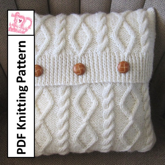 Cable Knit Pillow Pattern : PDF KNITTING PATTERN Diamonds and Cable 16 x16 by LadyshipDesigns
