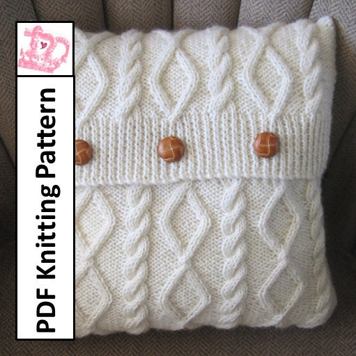 Free Knitting Cushion Patterns : knit pattern pdf Cable knit pillow cover pattern Diamonds