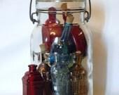 Instant Collection Vintage Bitters Bottles, Colored Vintage Bottles, Fosters Sealfast Canning Jar