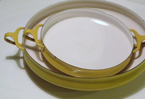 Dansk Paella Pan, Vintage Yellow Enamel Pan, Kobenstyle Mid Century Dansk