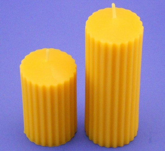 Beeswax Candles, 2 x 3 and 2 x 5 Organic Beeswax Pillars, Fluted Beeswax Candles, Organic Beeswax Cappings Candles, Handmade Bath Candles