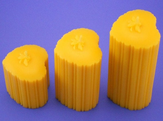 Beeswax Candles, 2.3 x 3 and 2.3 x 5 and 2.3 x 7 Heart Shaped Beeswax Pillars, Organic Beeswax Candles, Candles From Pure Bees Wax,