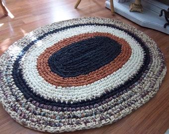 "Oval Crocheted Rag Rug 3' x 30"" wide"