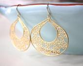 Gold Earrings Dangle Gold Filigree Pendants Bridesmaid Jewelry Gold Jewelry Boho Jewelry Girlfriend Gifts Best Friend, best selling item