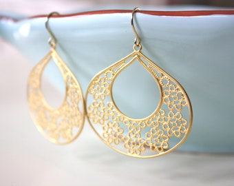 Gold Earrings Dangle Gold Filigree Pendants Bridesmaid Jewelry Gold Jewelry Boho Jewelry Girlfriend Gifts Best Friend, best selling item